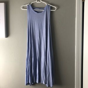 blue dress with lace up back & POCKETS